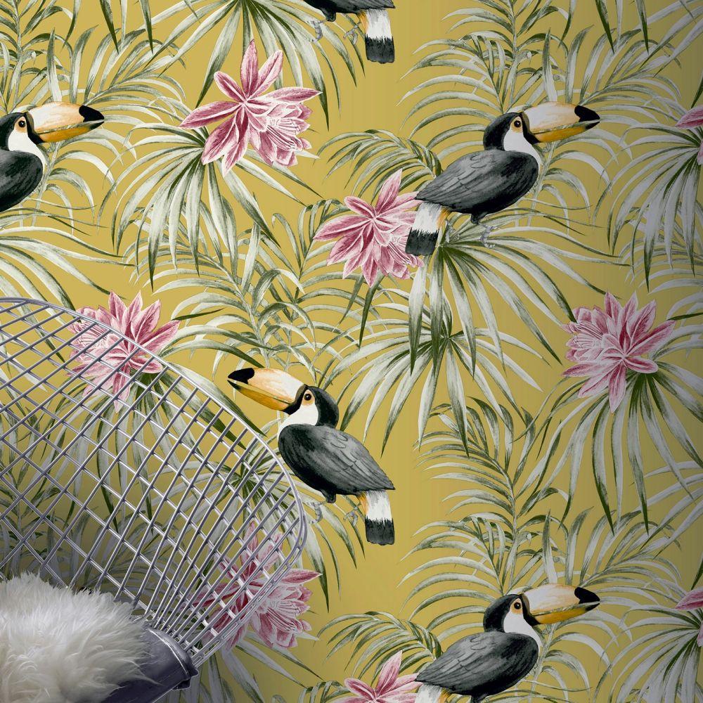 Toucan Wallpaper - Ochre - by Arthouse