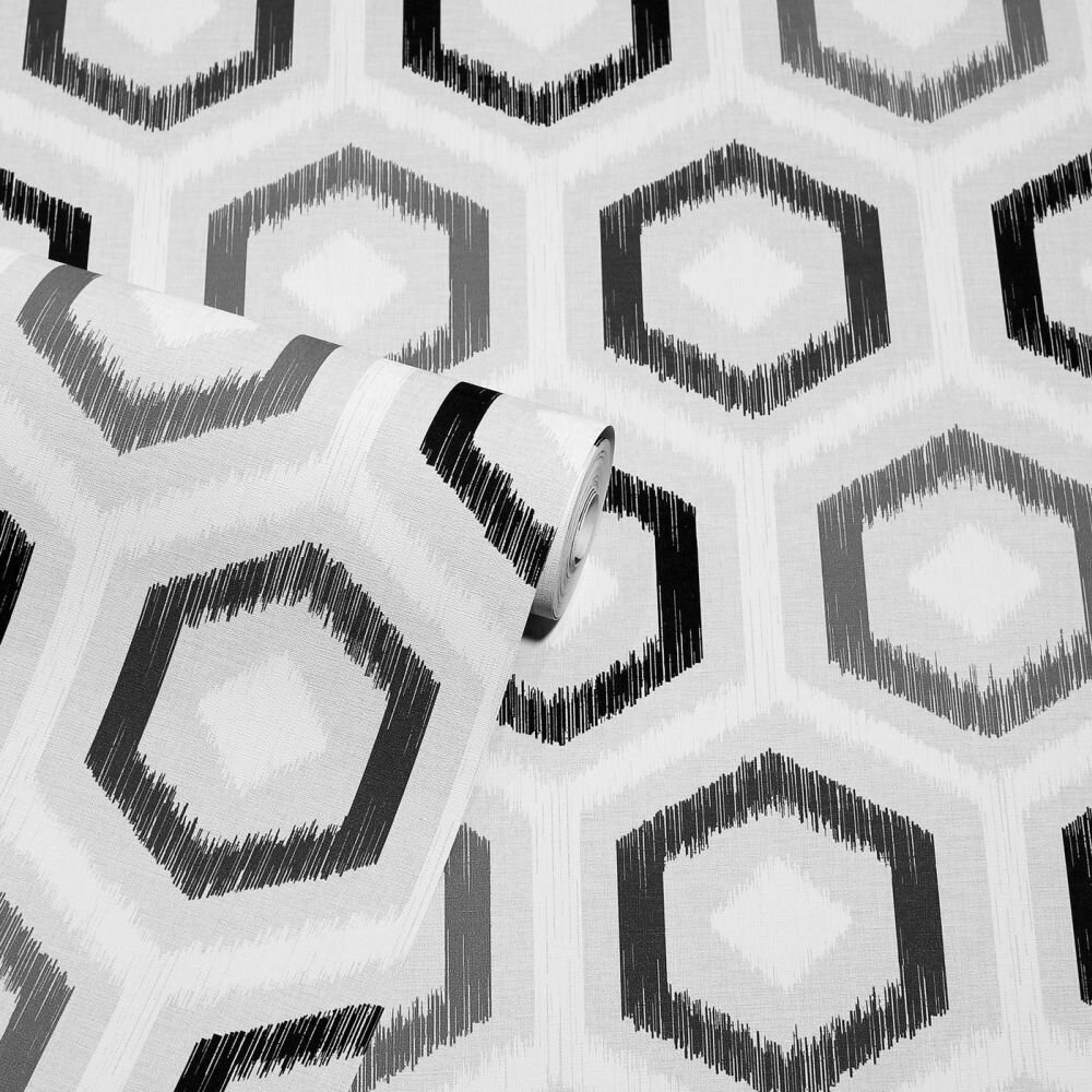 Ikat Geo Wallpaper - Mono - by Arthouse
