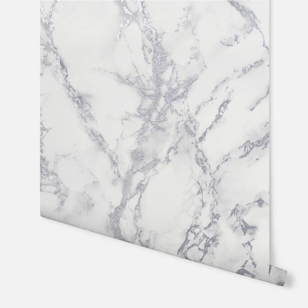 Carrara Marble Wallpaper - Silver - by Arthouse