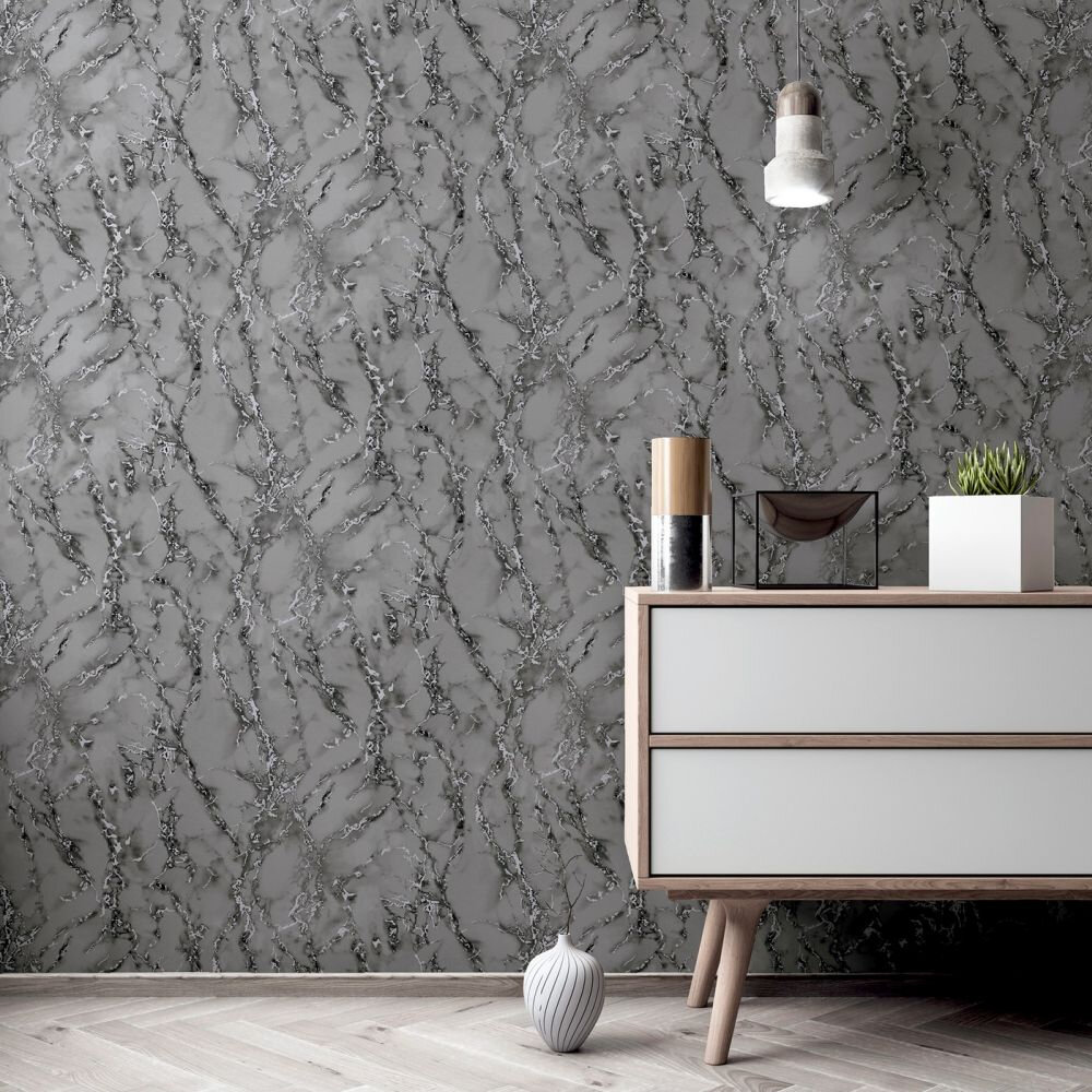 Carrara Marble Wallpaper - Charcoal - by Arthouse