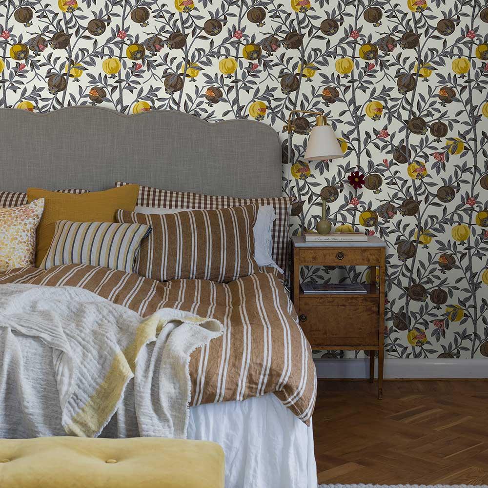 Granatapple Wallpaper - Grey / Yellow - by Boråstapeter
