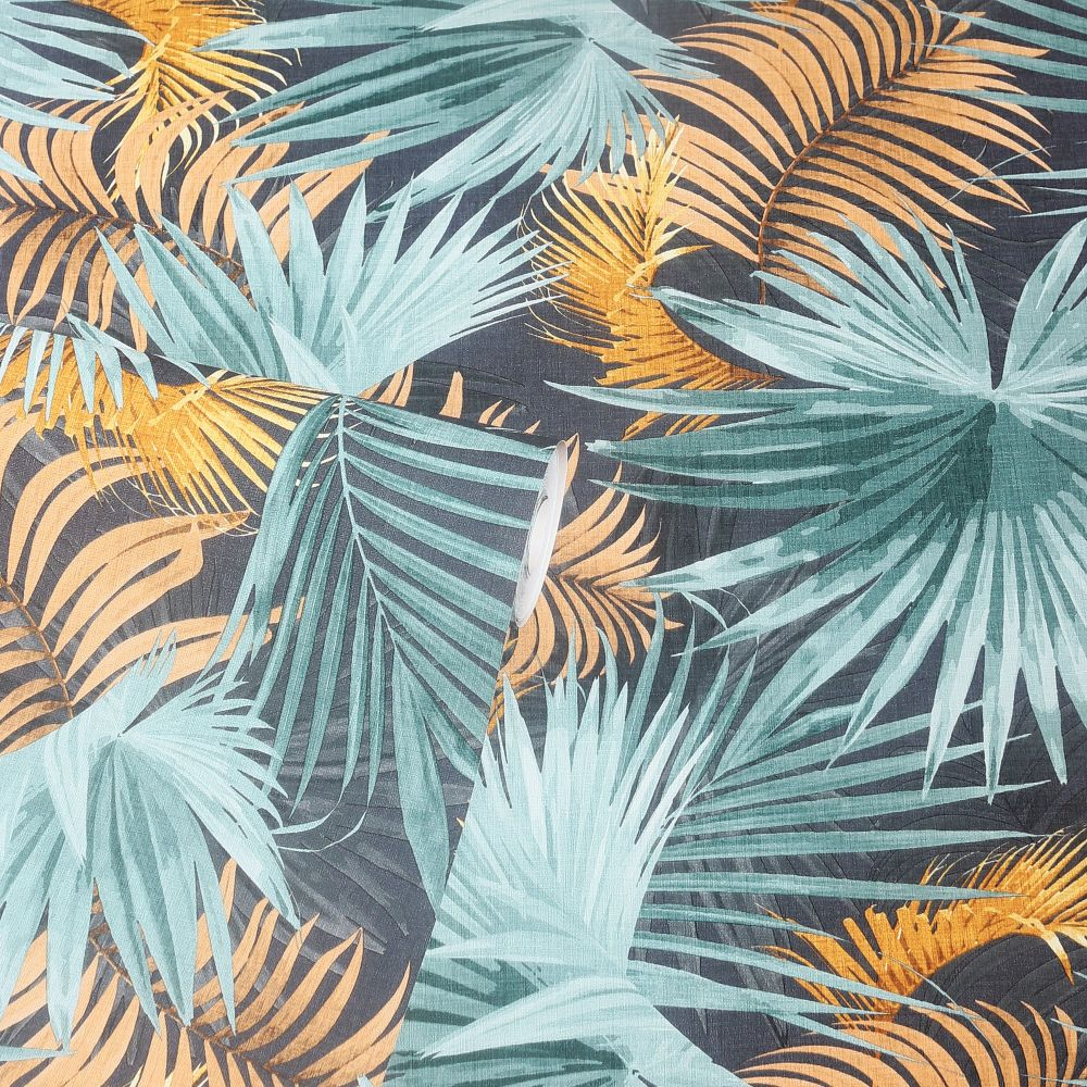 Santa Elena Wallpaper - Teal/Orange - by Arthouse