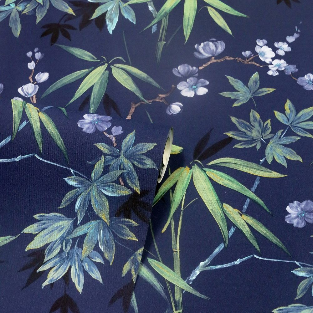 Jasmine Garden Wallpaper - Navy - by Arthouse