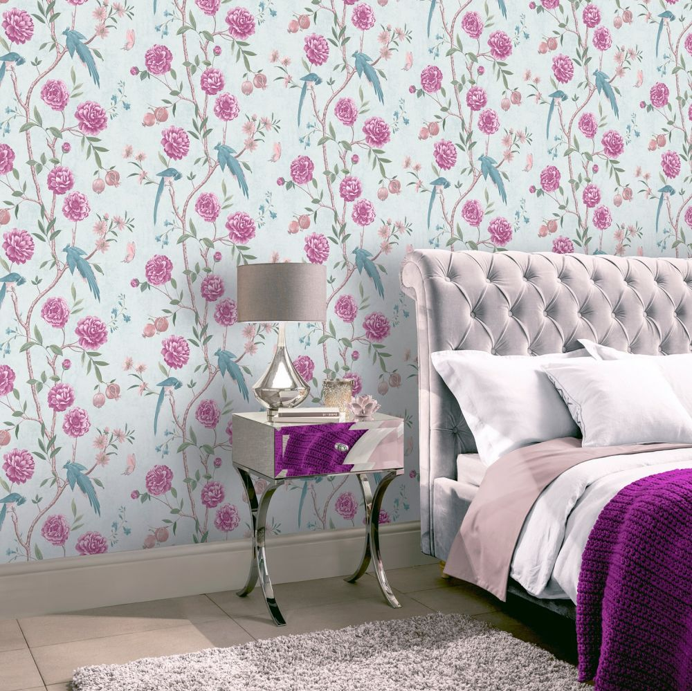 Chinoise Floral Wallpaper - Mint - by Arthouse