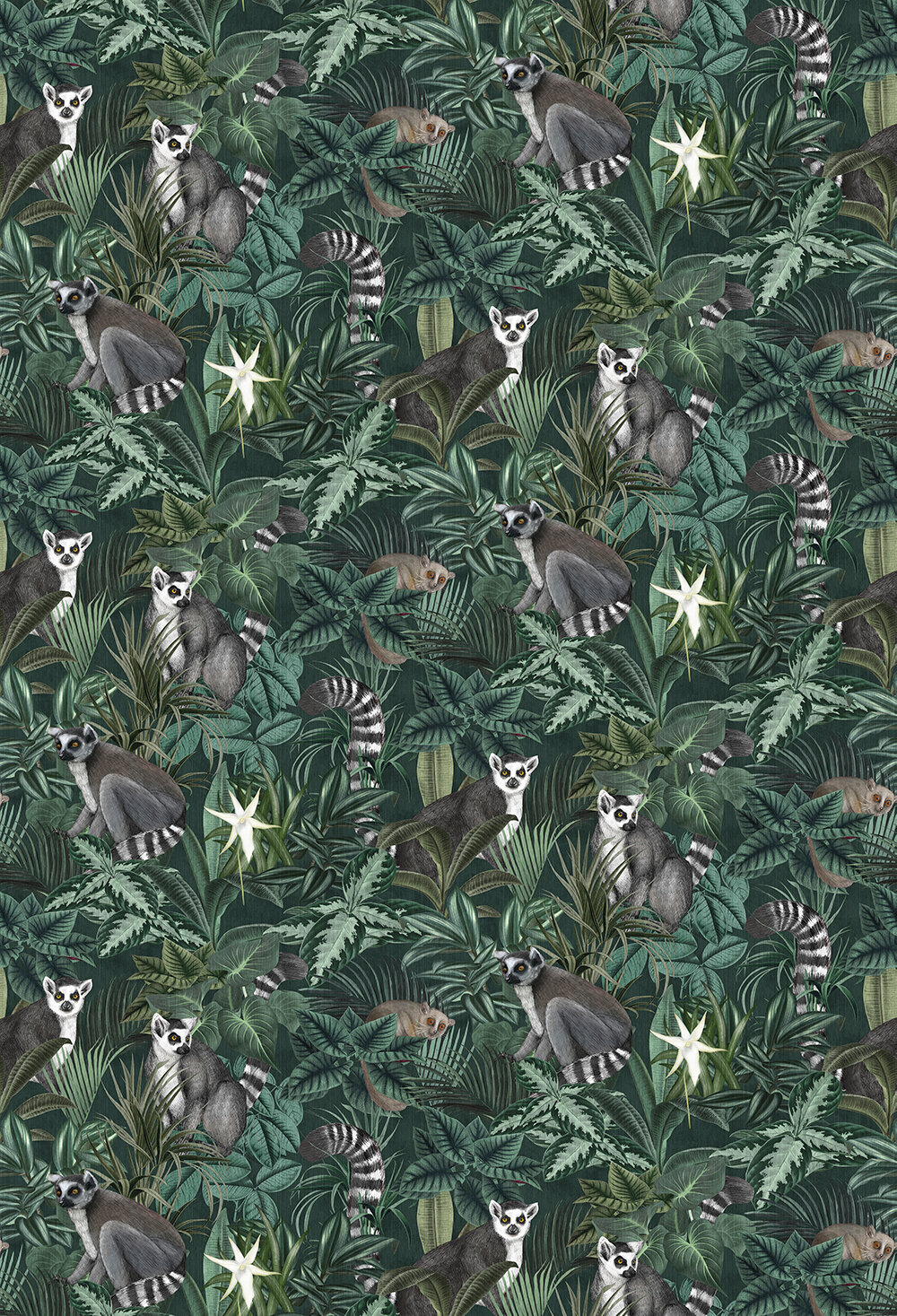 Madagascar Mural - Dark Green - by Boråstapeter