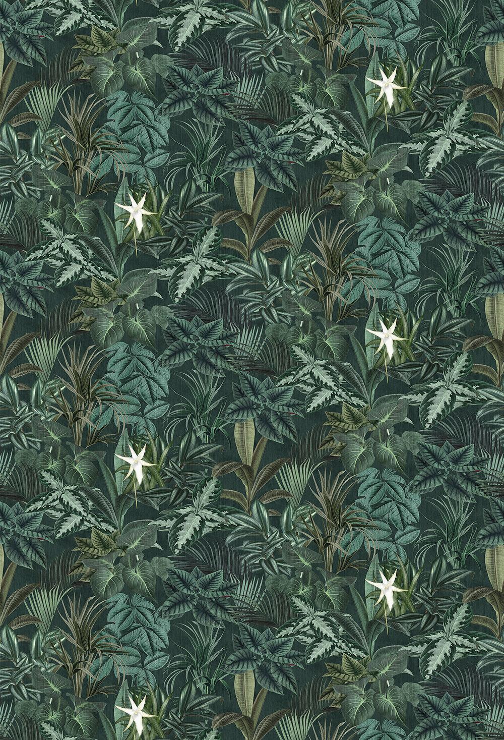 Madagascar Leaves Mural - Dark Green - by Boråstapeter
