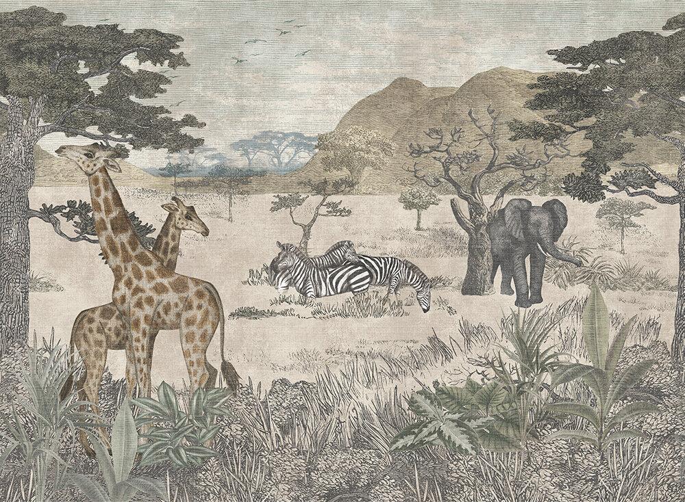 Serengeti Mural - Vintage - by Boråstapeter