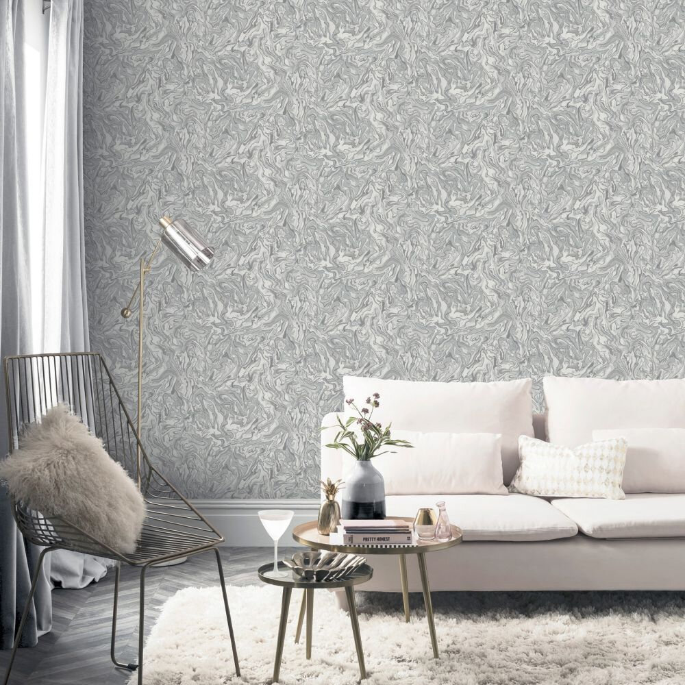 Liquid Marble Wallpaper - Grey - by Arthouse
