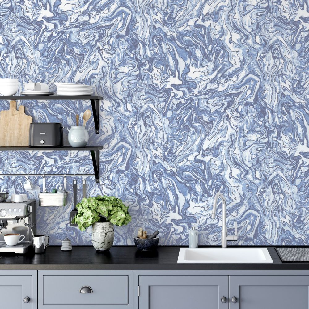 Liquid Marble Wallpaper - Navy - by Arthouse