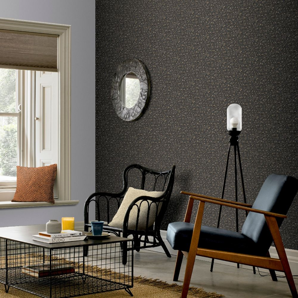 Cork Wallpaper - Charcoal/Gold - by Arthouse