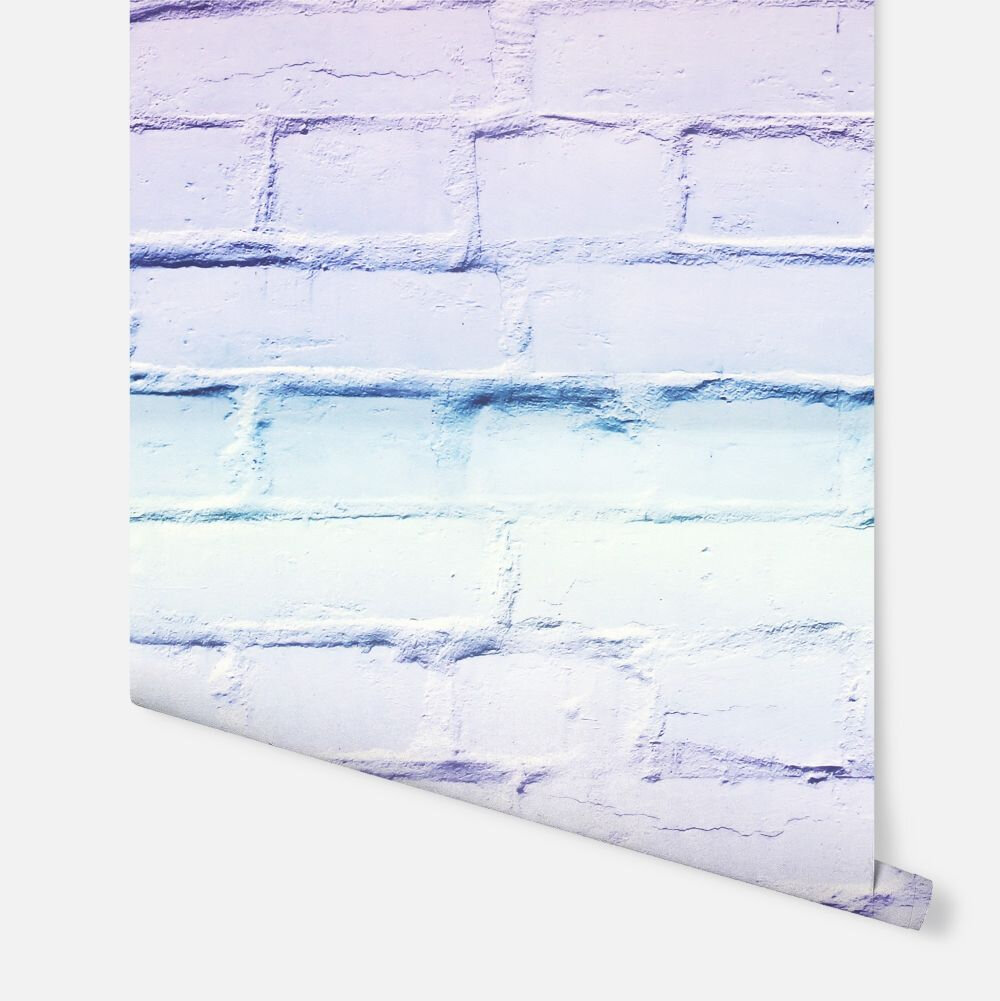 Ombre Brick Wallpaper - Lilac/Mint - by Arthouse