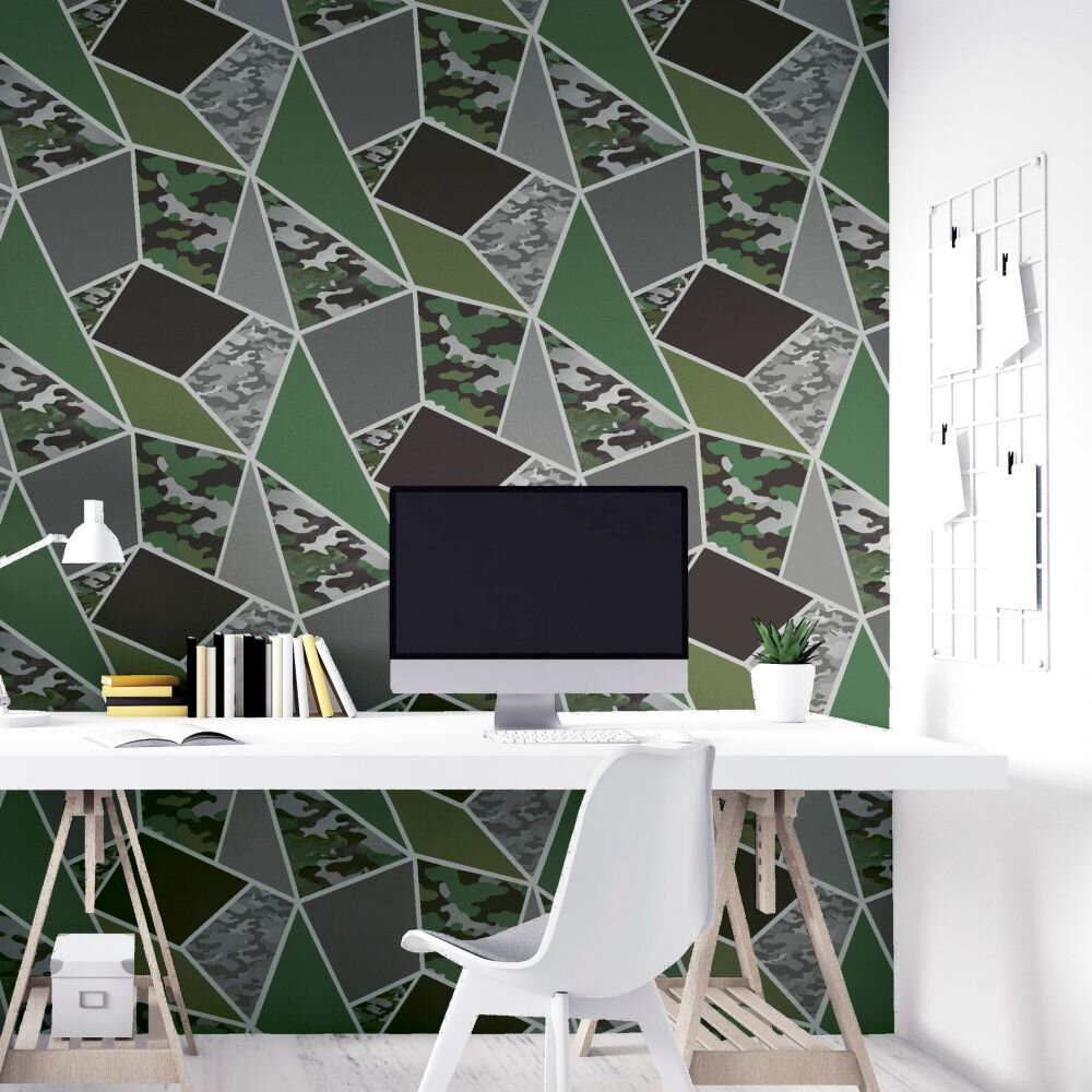 Camo Fragments Wallpaper - Green - by Arthouse