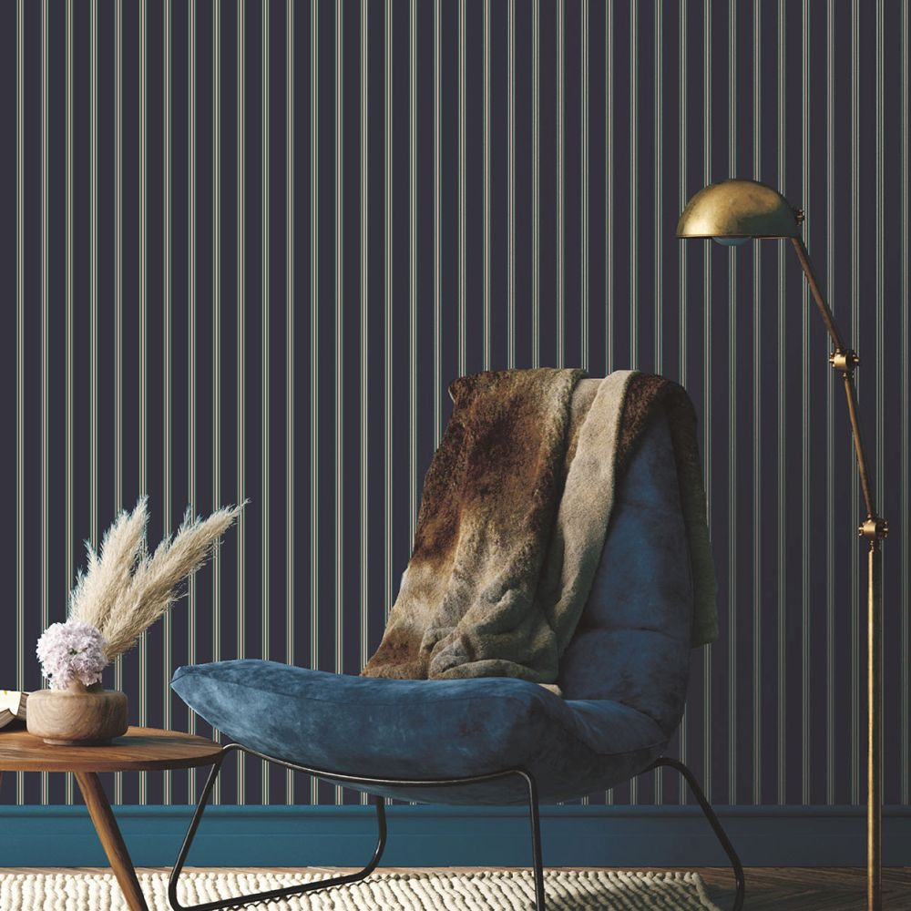 Suitcase Stripe Wallpaper - Navy - by Ted Baker