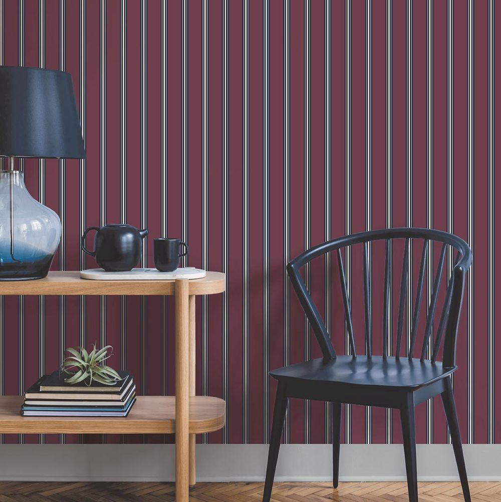 Suitcase Stripe Wallpaper - Maroon - by Ted Baker