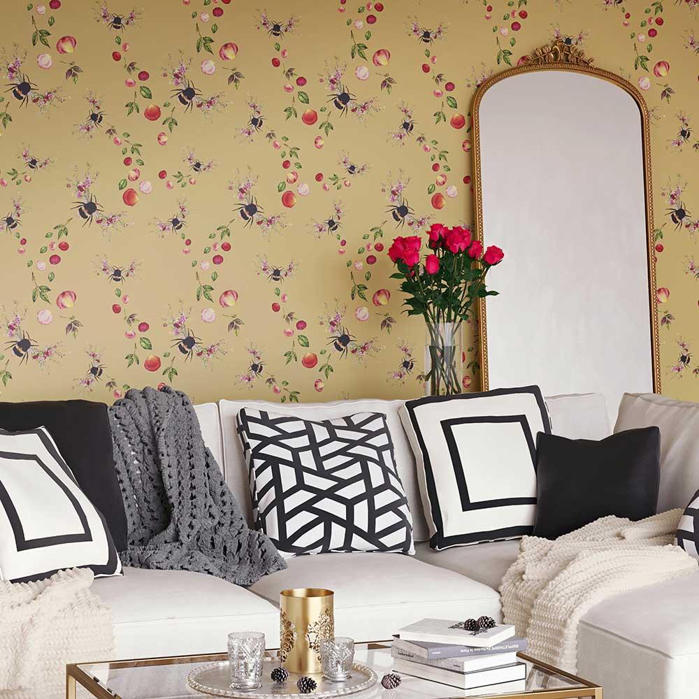Bee Bloom Wallpaper - Gold - by Hattie Lloyd