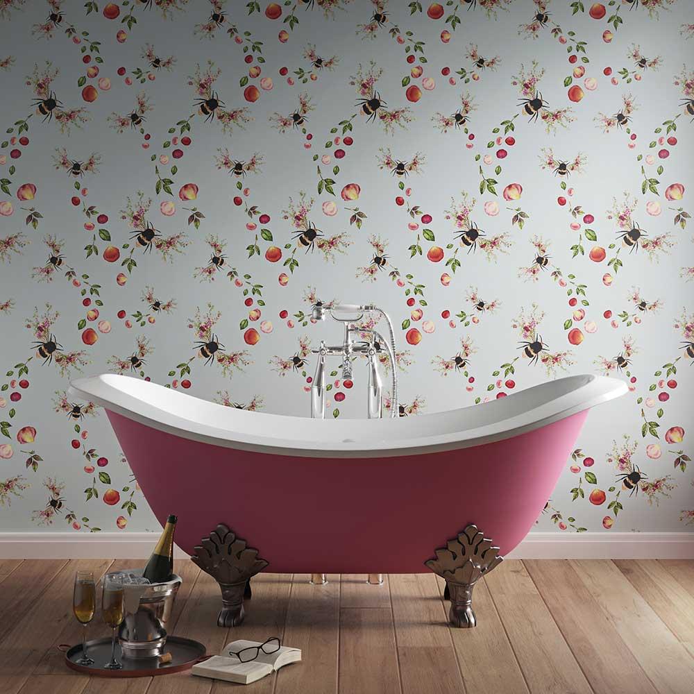 Bee Bloom Wallpaper - Duck Egg - by Hattie Lloyd