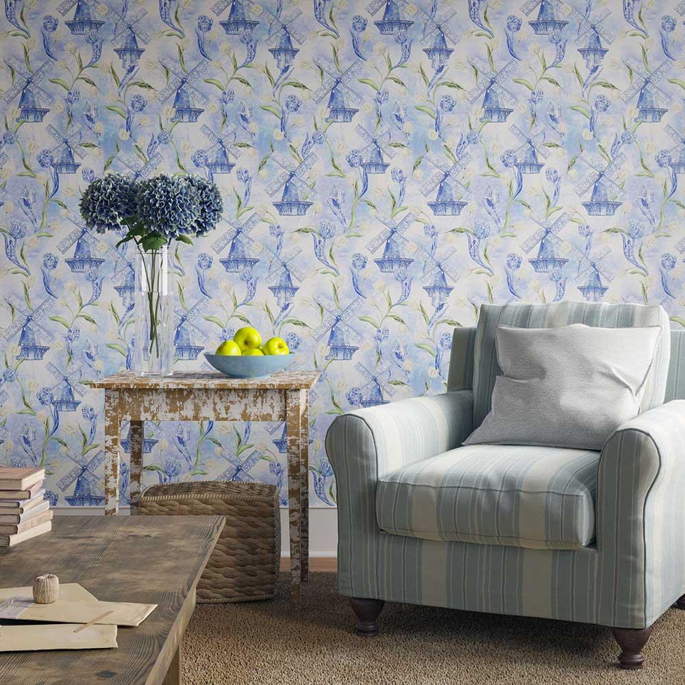 Delft Flourish Wallpaper - Blue - by Hattie Lloyd