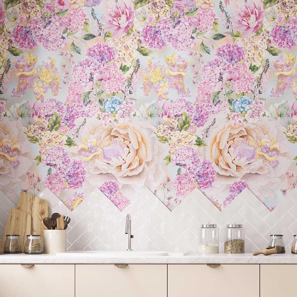Snapdragon Mural - Pink / Gold - by Hattie Lloyd