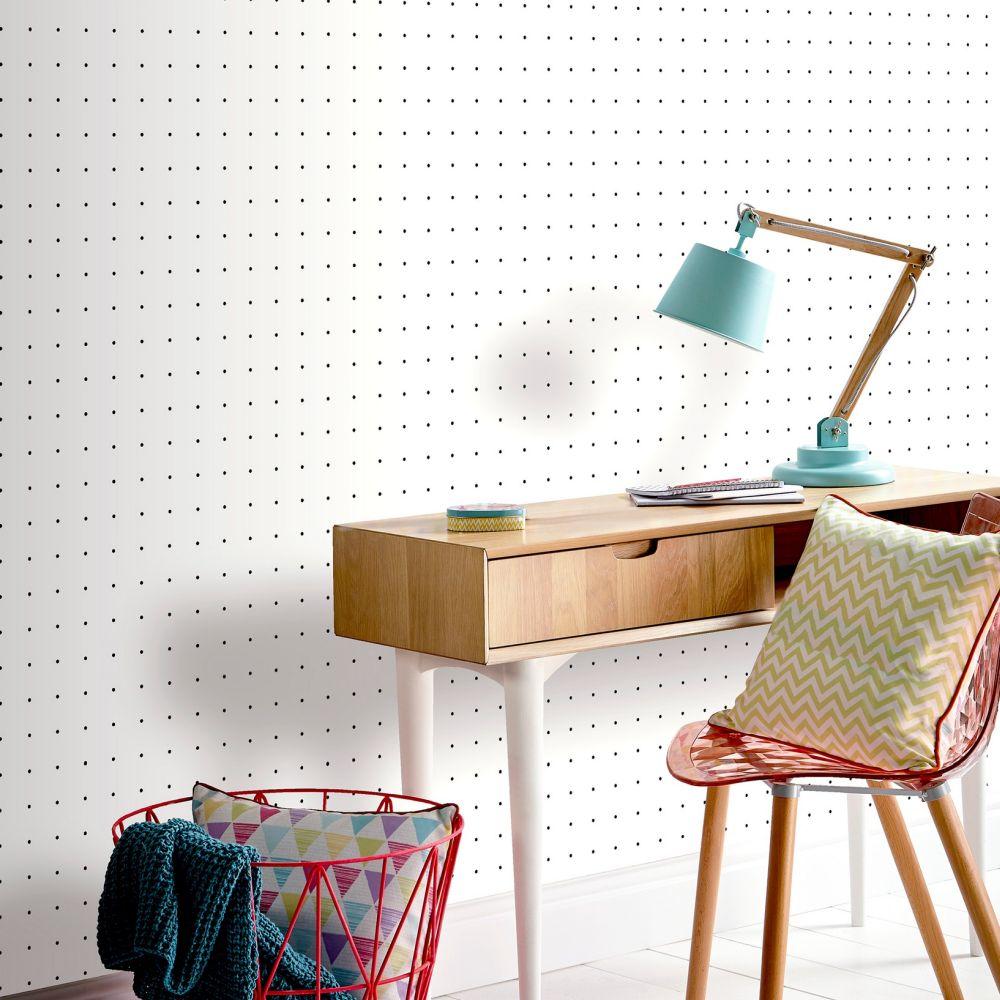 Dot Grid Wallpaper - White - by Arthouse