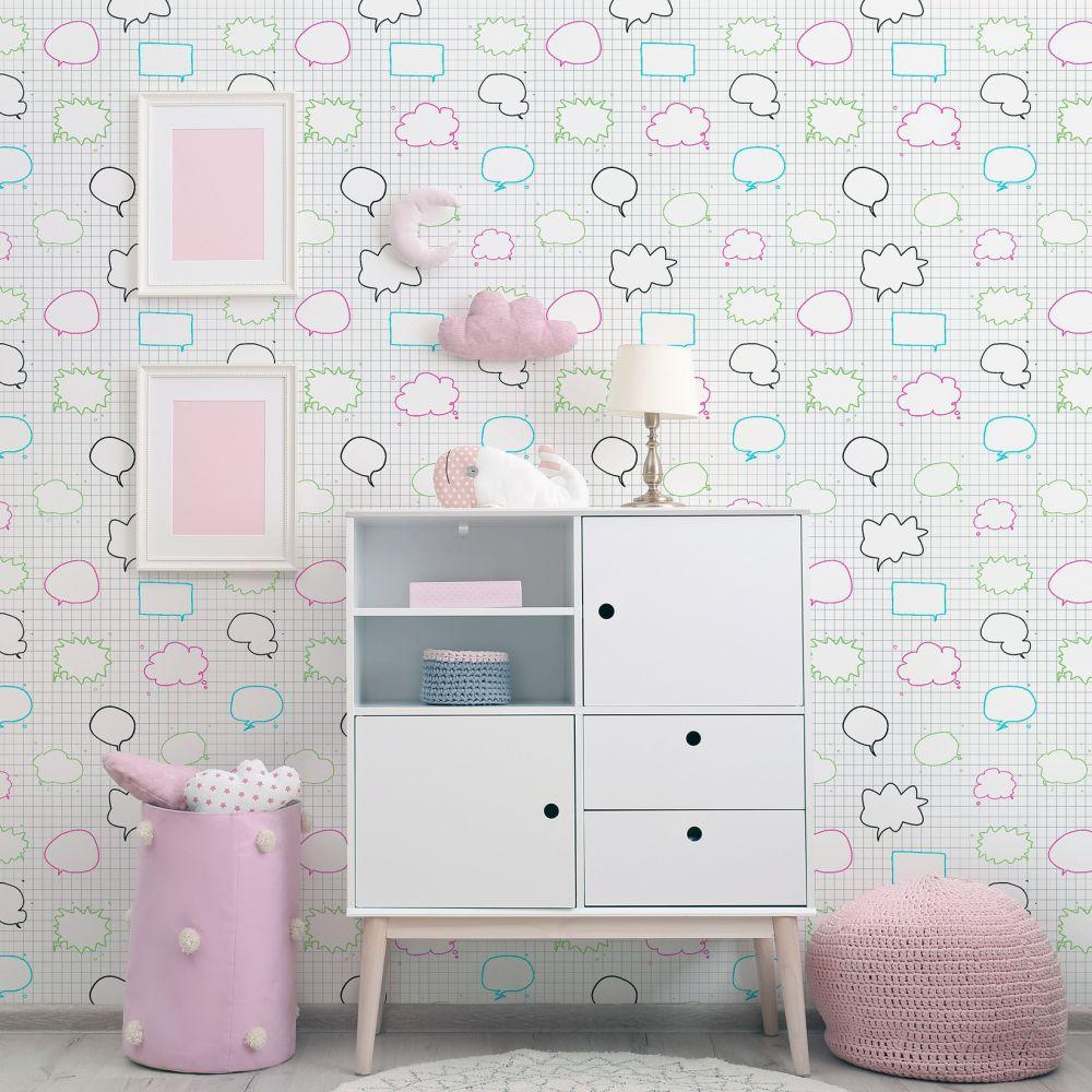 Speech Bubbles Wallpaper - White - by Arthouse