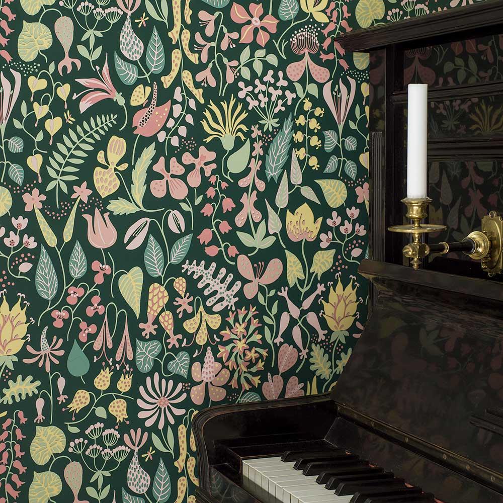 Herbarium Wallpaper - Green multi-coloured - by Boråstapeter