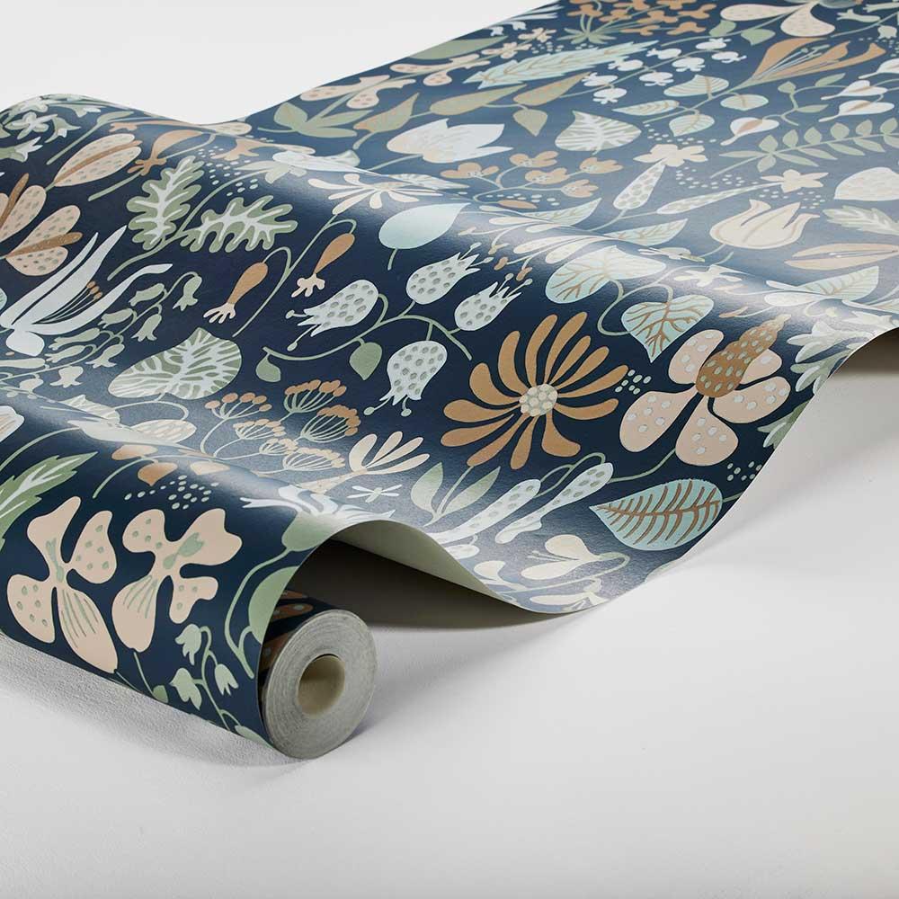 Herbarium Wallpaper - Blue - by Boråstapeter