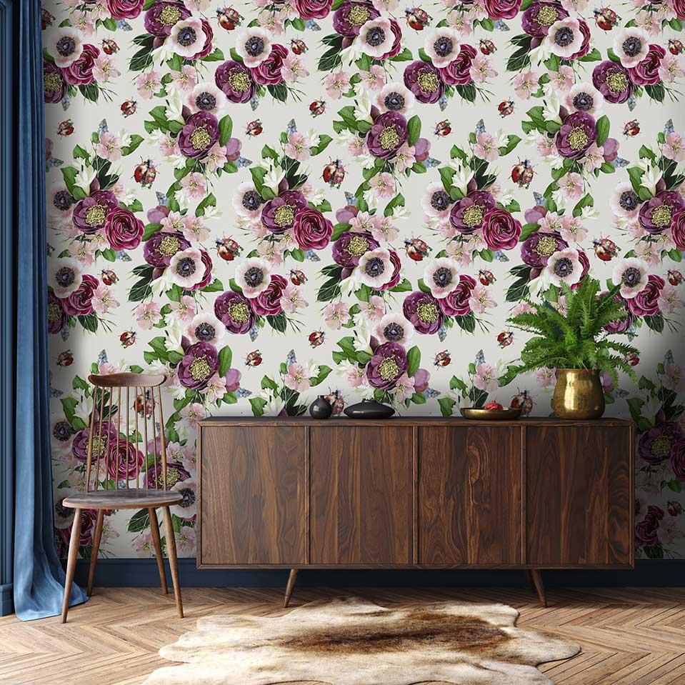 Mixed Ladybird Wallpaper - Stone - by Lola Design