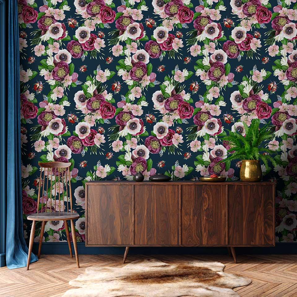 Mixed Ladybird Wallpaper - Dark Blue - by Lola Design