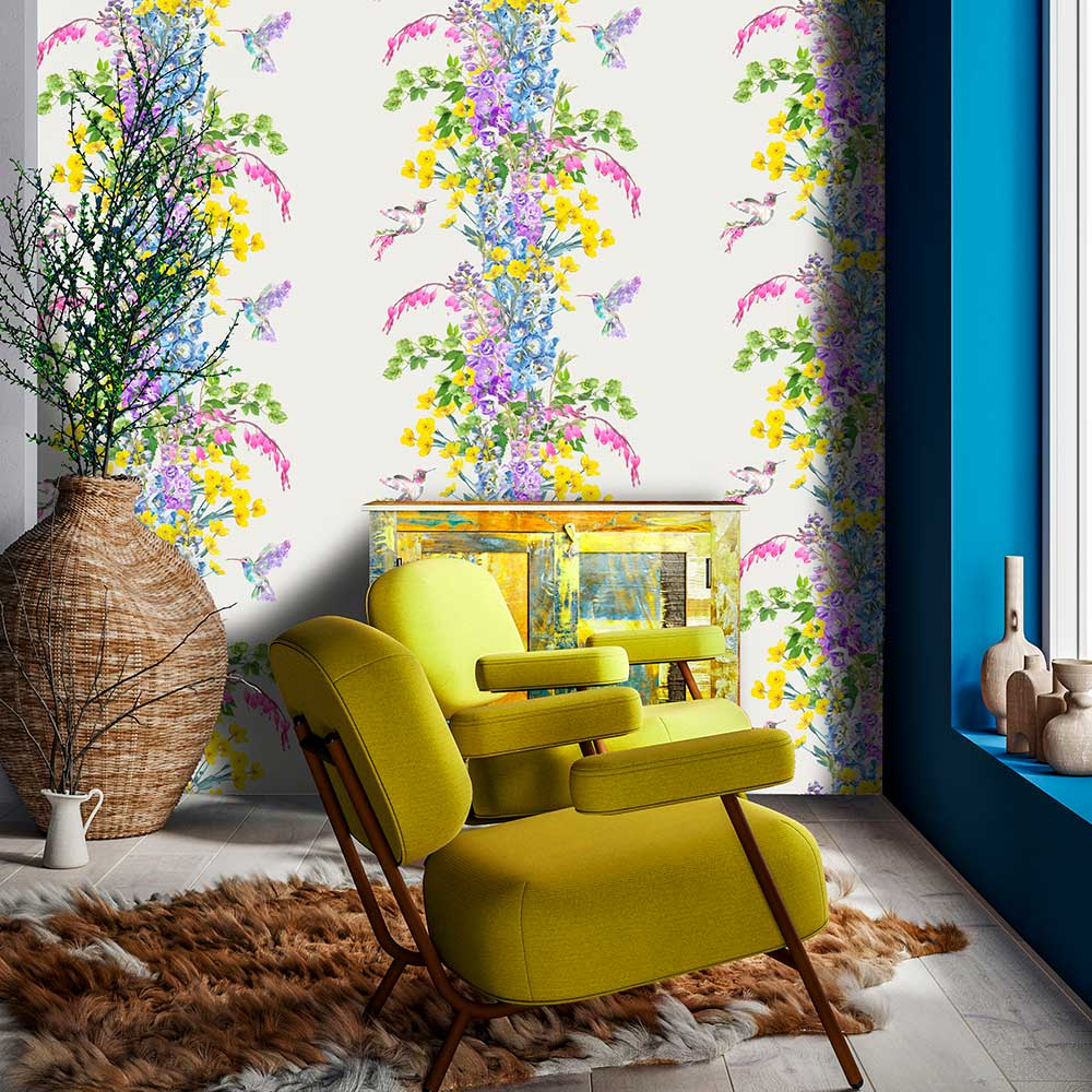 Hummingbird Wallpaper - Stone - by Lola Design