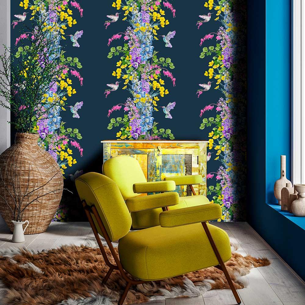 Hummingbird Wallpaper - Dark Blue - by Lola Design