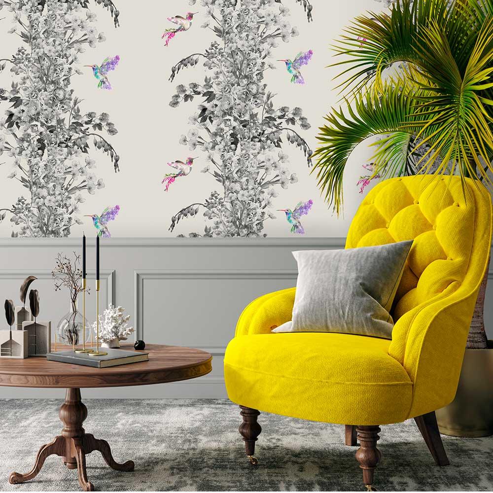 Hummingbird Wallpaper - Black / White / Stone - by Lola Design