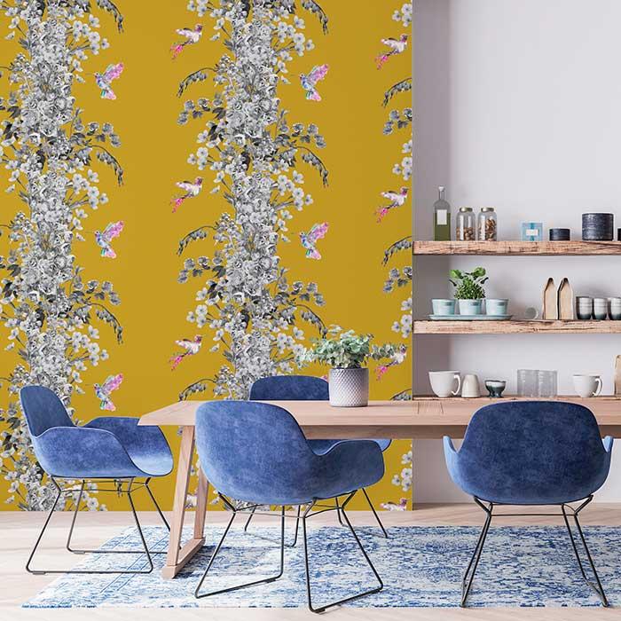 Hummingbird Wallpaper - Black / White / Mustard - by Lola Design