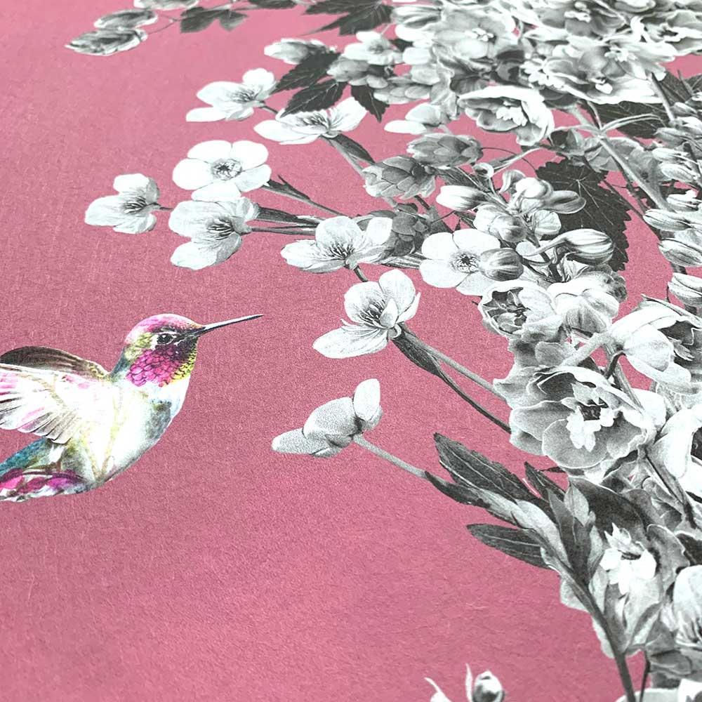Hummingbird Wallpaper - Black / White / Deep Mauve - by Lola Design
