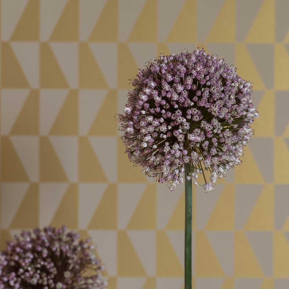 Trapez Wallpaper - Gold / Grey - by Boråstapeter