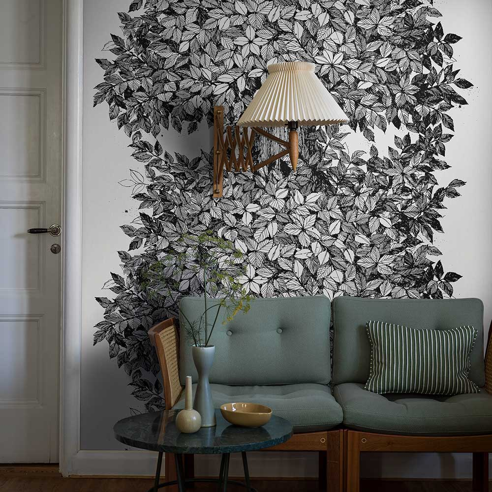 Hassel wall panel Mural - Ivory / Black - by Boråstapeter