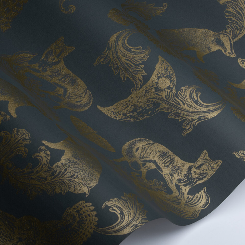 Dipped in Moonlight Wallpaper - Charcoal /  Gold - by Graduate Collection