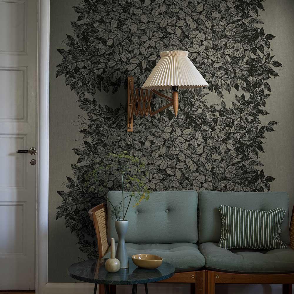 Hassel wall panel Mural - Dark Green - by Boråstapeter