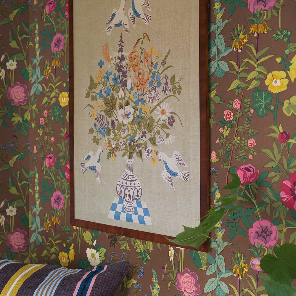 Sommar wall mural - Brown / Multi-coloured - by Boråstapeter