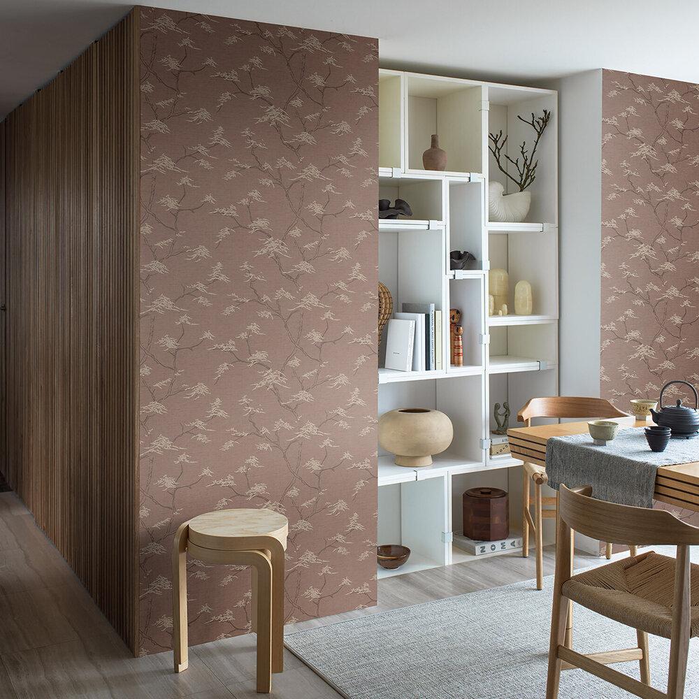 Temple Tree Wallpaper - Rust - by Boråstapeter