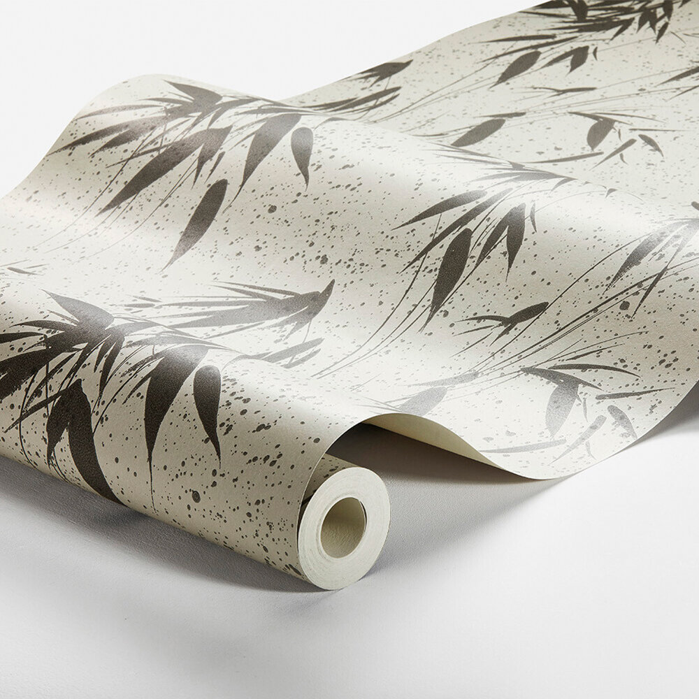 Ink Bamboo Wallpaper - Charcoal - by Boråstapeter