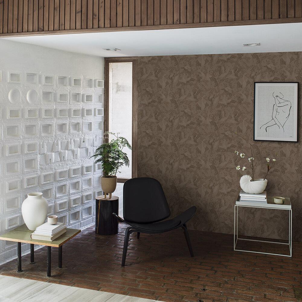 Dancing Crane Wallpaper - Earthy Brown - by Boråstapeter