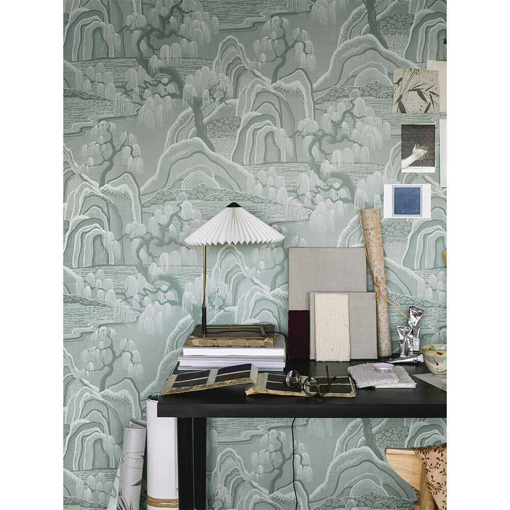 Indigo Garden Wallpaper - Grey-Green  - by Boråstapeter