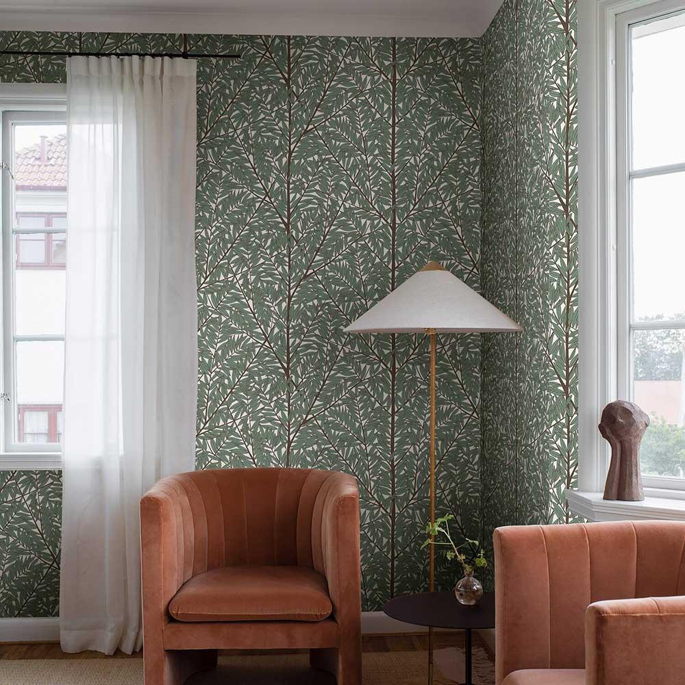 Korgpil wall panel Mural - Green - by Boråstapeter