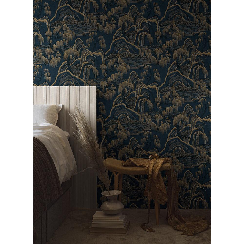 Indigo Garden Wallpaper - Indigo and Gold - by Boråstapeter