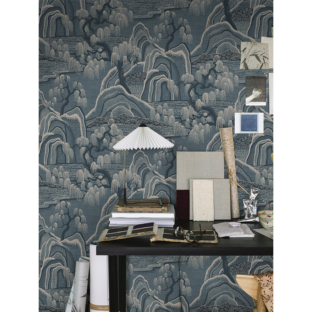 Indigo Garden Wallpaper - Blue and Beige - by Boråstapeter
