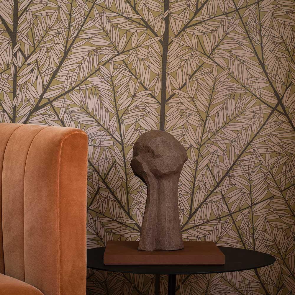 Korgpil wall panel Mural - Gold / Beige - by Boråstapeter