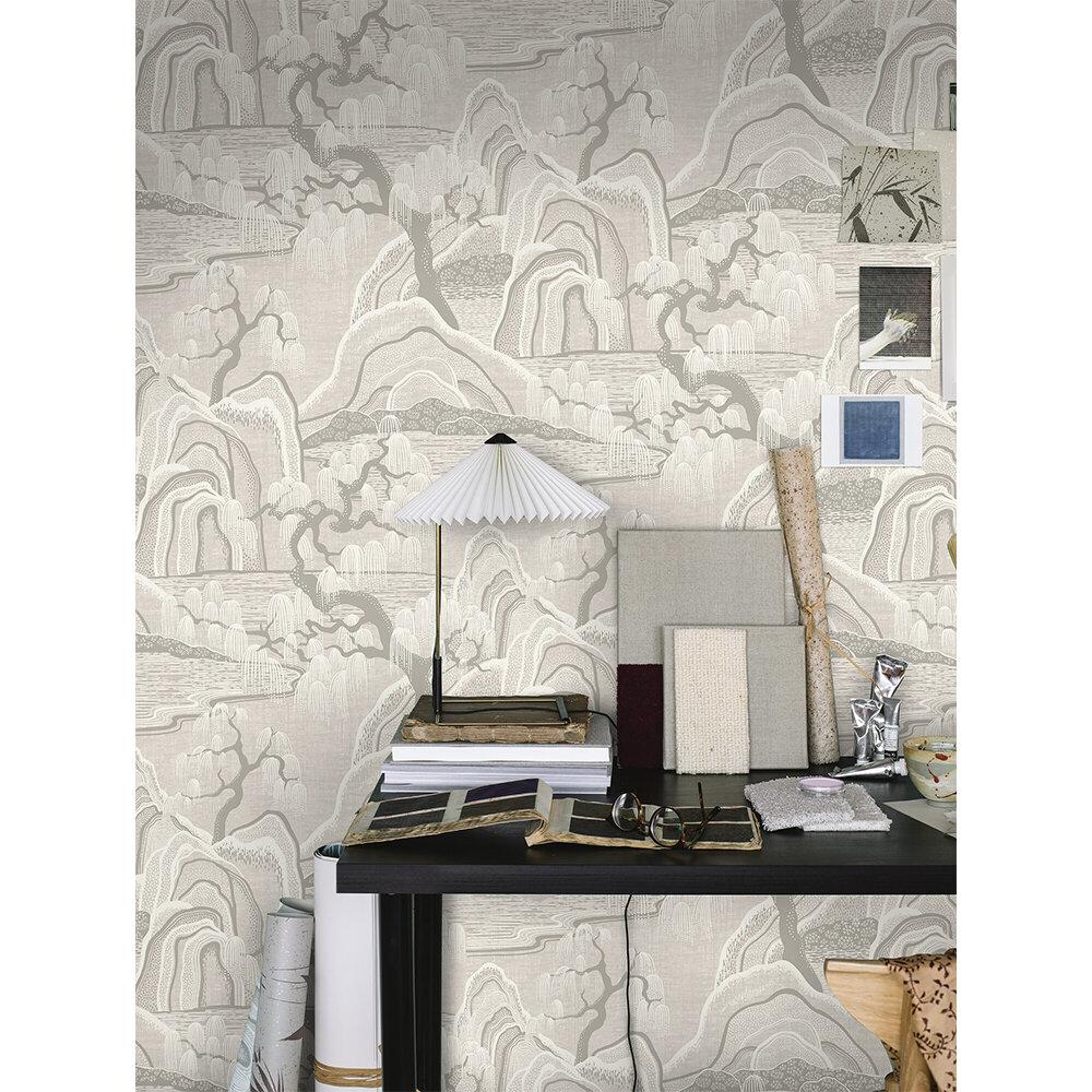 Indigo Garden Wallpaper - Light Grey - by Boråstapeter