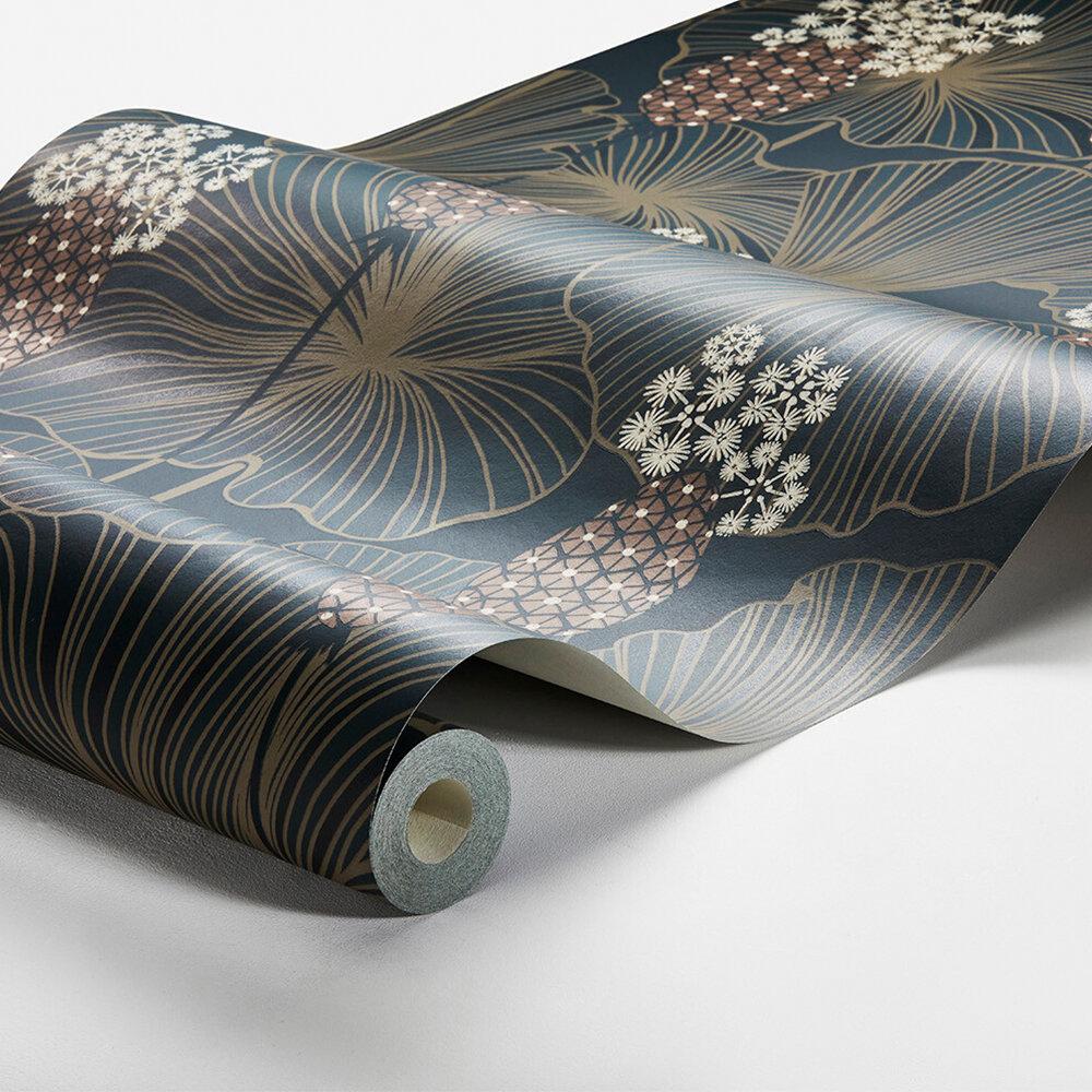 Umbrella Leaves Wallpaper - Indigo - by Boråstapeter