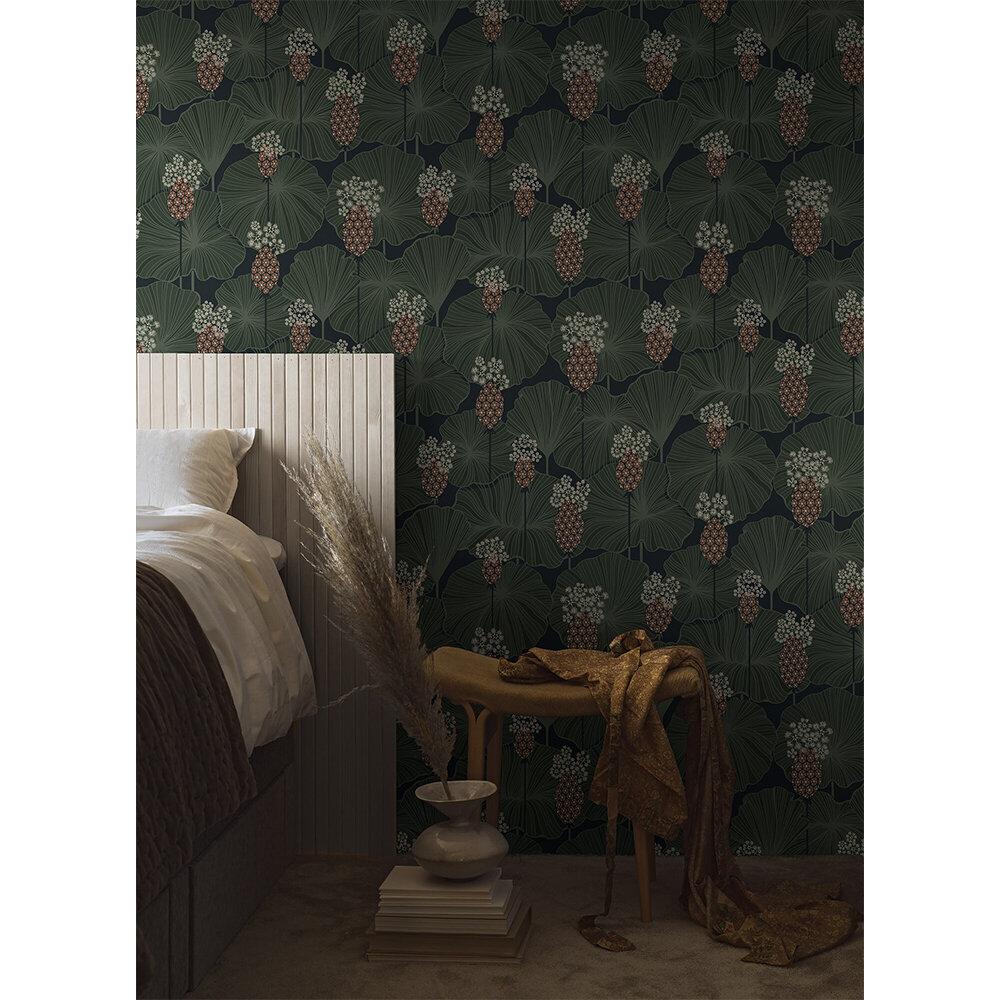 Umbrella Leaves Wallpaper - Deep Green - by Boråstapeter