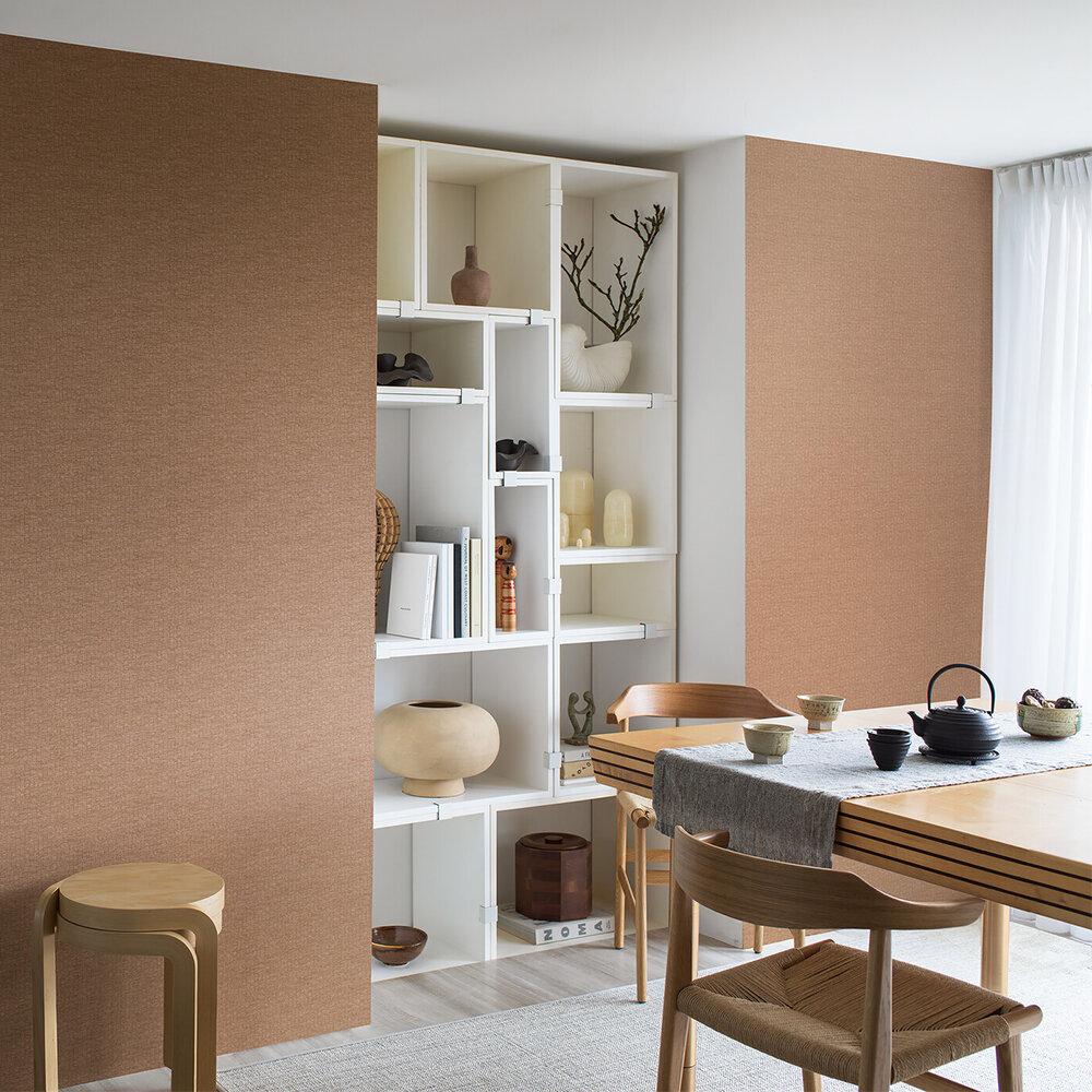 Kyoto Grid Wallpaper - Earthy Brown - by Boråstapeter